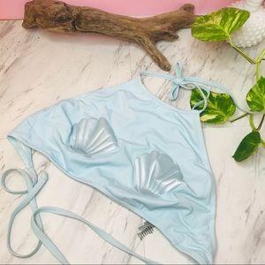 aerie mermaid high metallic blue seashell bikini